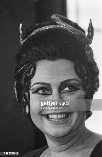 Greek operatic soprano Elena Souliotis in costume, UK, 21st March 1972.