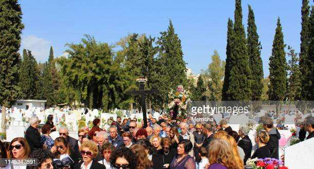 greek orthodox easter epitaph procession in cemetery - greek orthodox easter stock pictures, royalty-free photos & images