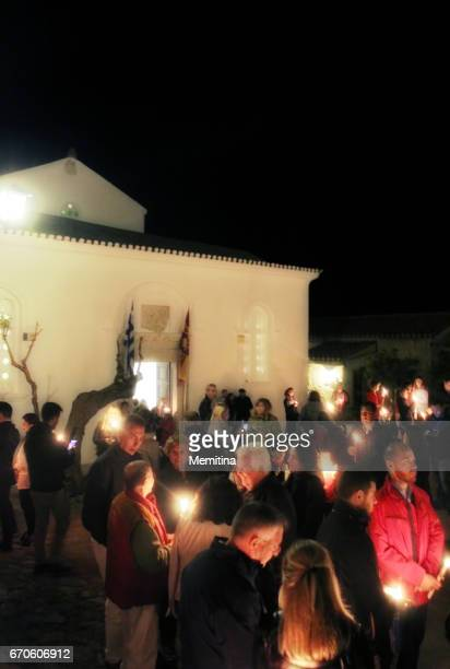 greek orthodox easter vigil - religious vigil stock photos and pictures