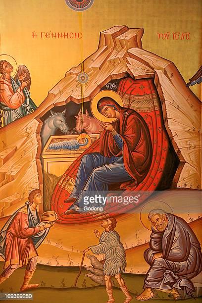 Greek orthodox icon depicting Christ's birth