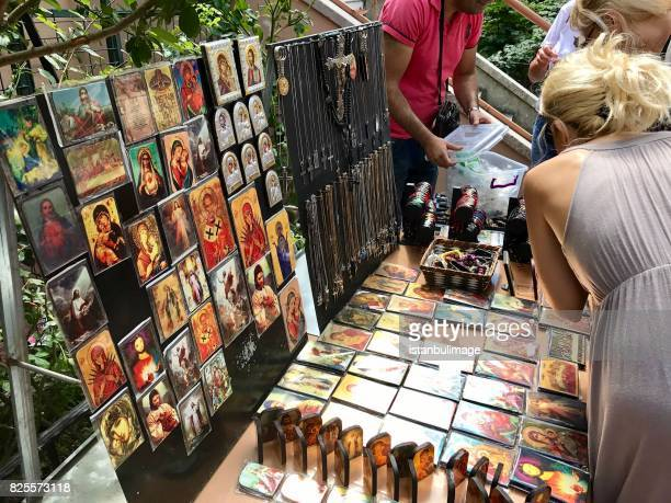 Greek Orthodox icons offered for sale outside the Church of the First Day.