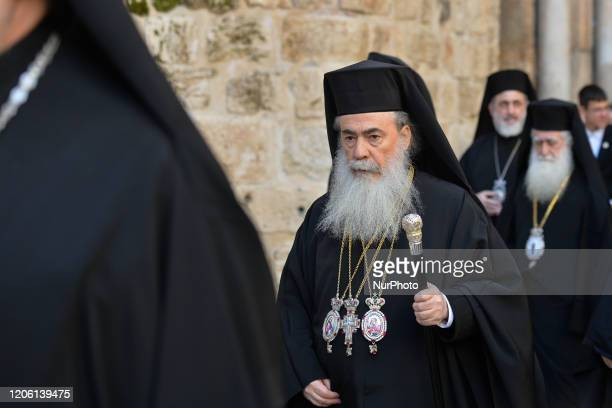 Greek Orthodox Patriarch of Jerusalem Metropolitan Theophilos III at the end of Saturday afternoon celebrations exits the Church of the Holy...