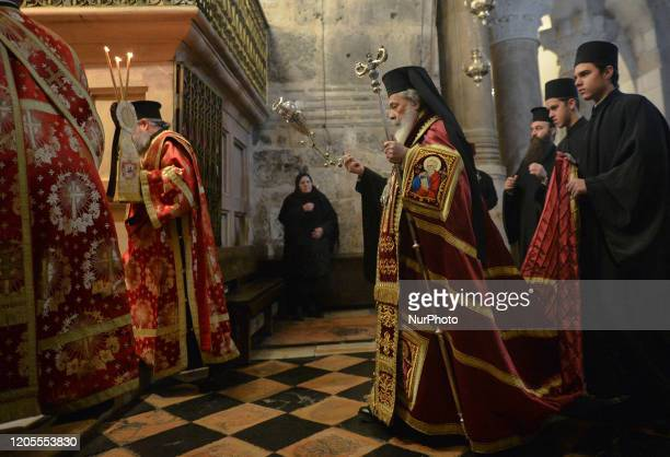Greek Orthodox Patriarch of Jerusalem Metropolitan Theophilos III takes part in the First Friday of Lent religiouse ceremony inside the Church of the...