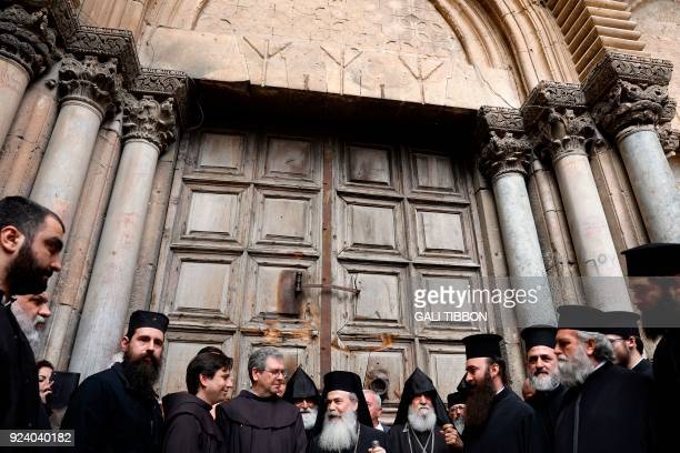 TOPSHOT Greek Orthodox Patriarch of Jerusalem Theophilos III delivers a statement to the press as he stands next to the Custodian of the Holy Land Fr...