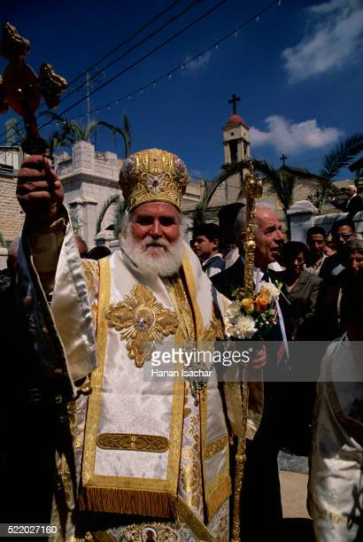 Greek Orthodox Priest Leading Procession