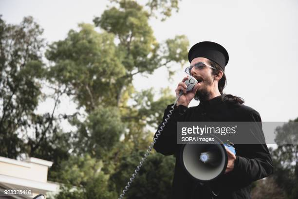 A greek Orthodox priest seen giving a speech Demonstrate in Athens under the slogan Greek means Orthodoxy Greek East Orthodox Church supporters...
