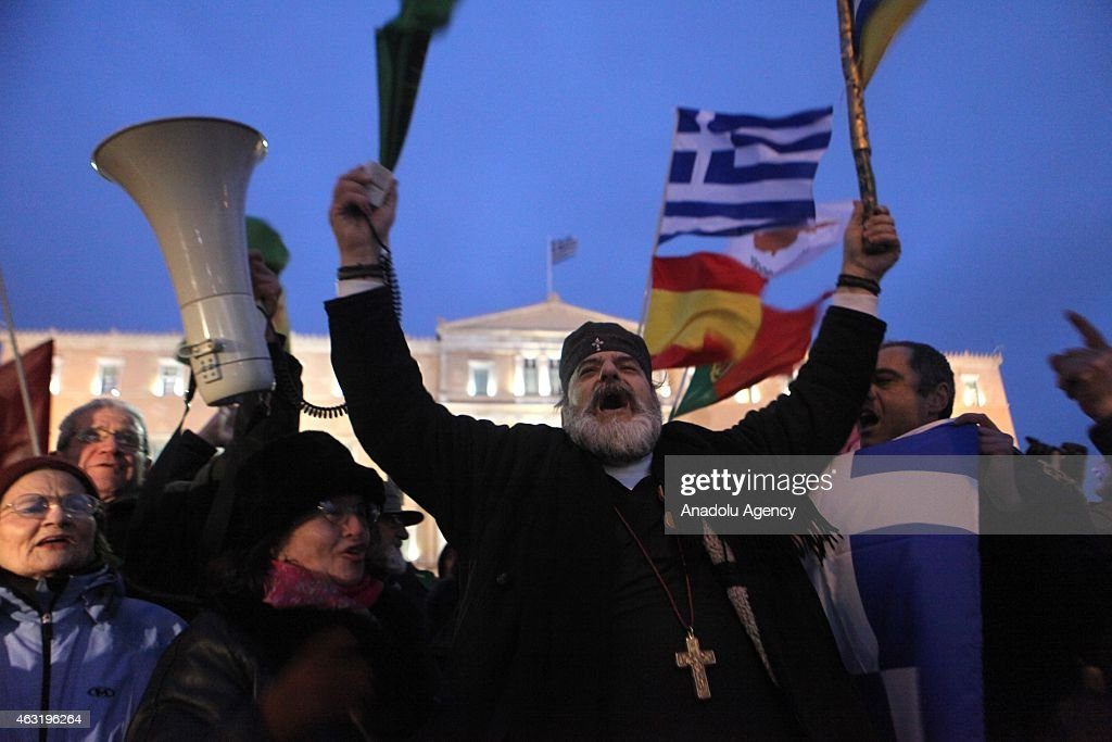 Protest in solidarity with the Greek government : News Photo