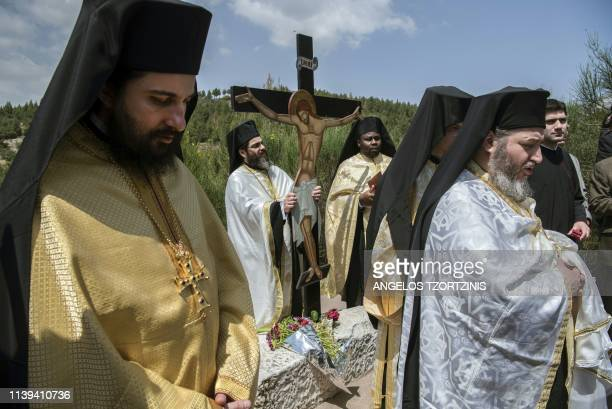 Greek Orthodox priests celebrate the Apokathelosis the lowering of Christ's body from the Cross which forms a key part of Orthodox Easter at the...