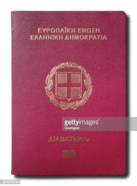 Greek passport isolated on a white background