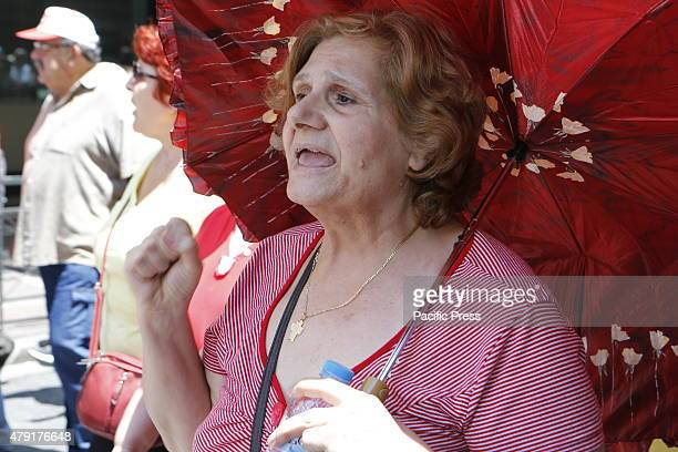 Greek pensioner shouts slogans during the march from the finance ministry to the Greek Central Bank Greek Pensioners marched from the Ministry of...