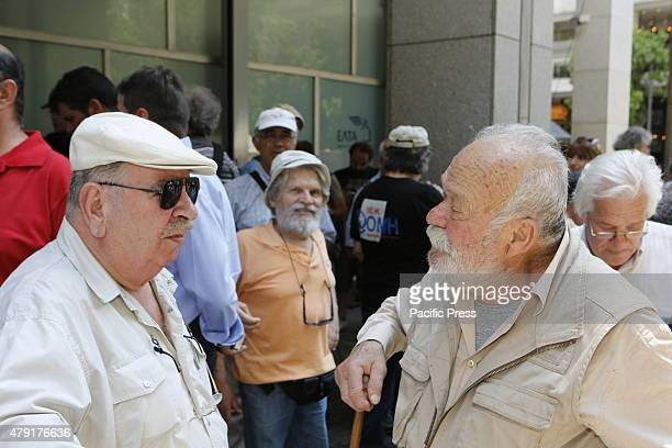 Greek pensioners have assembled outside the Ministry of finance to protest against more cuts Greek Pensioners marched from the Ministry of Finance to...