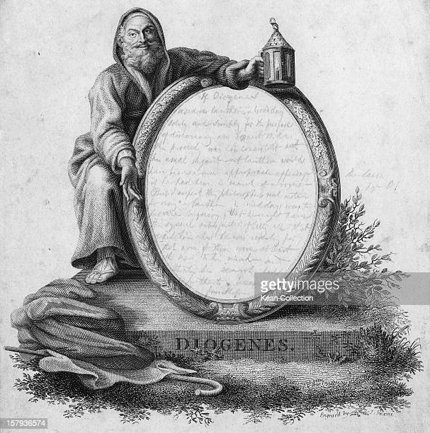 Greek philosopher Diogenes of Sinope also known as Diogenes the Cynic circa 350 BC He is depicted with the lamp with which he professed himself to be...
