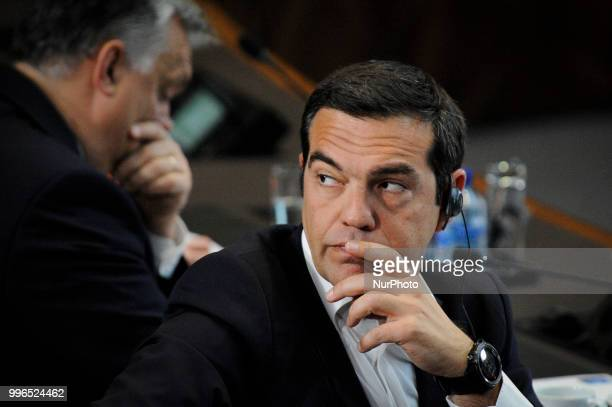 Greek PM Alexis Tsipras is seen during the 2018 NATO Summit in Brussels Belgium on July 11 2018