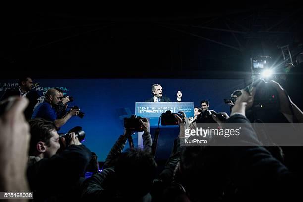 Greek PM Antonis Samaras gives his main preelection speech in Taekwondo stadium in Athens on January 23 2015