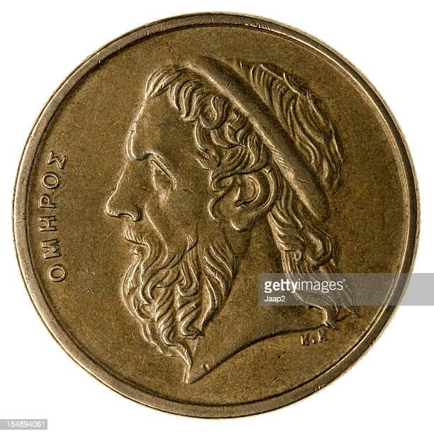 Greek poet Homer portrait on used 50 Drachma coin, isolated