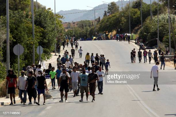 Greek police block refugees from moving from Moria camp due to concerns over Covid-19 on September 10, 2020 in Mytilene, Greece. A fire in Greece's...