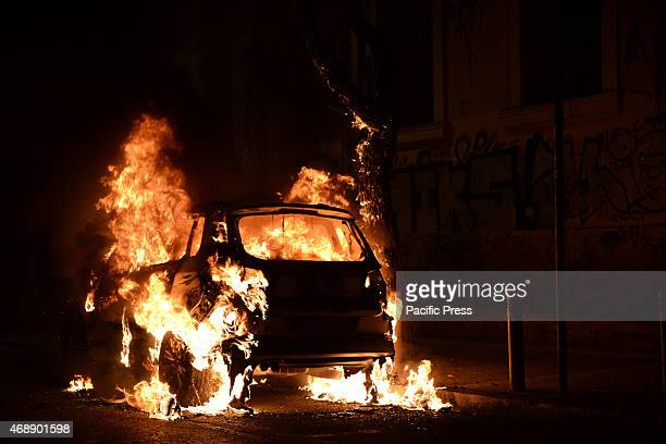 EXARCHIA ATHENS ATTICA GREECE Greek police reportedly used tear gas after a group of up to 70 anarchists started throwing stones and Molotov...