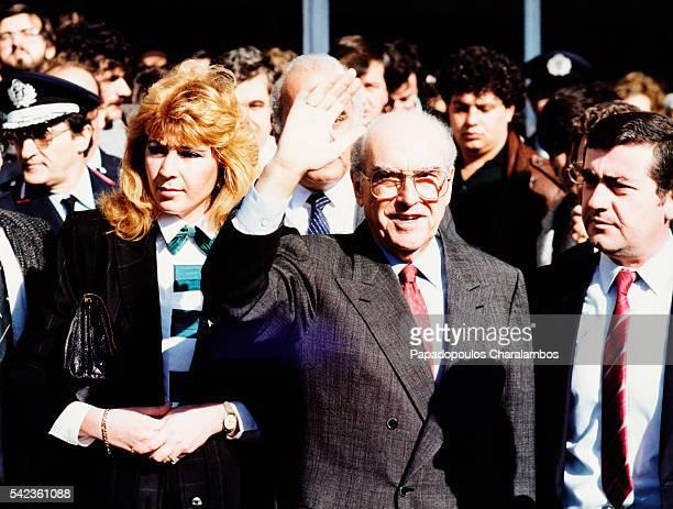 Greek Politician Andreas Papandreou and His Partner Dimitra Liani