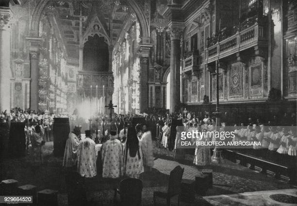 Greek Pontifical in St John Lateran to celebrate the 16th centenary of the Edict of Constantine Rome Italy from L'Illustrazione Italiana Year XL No...