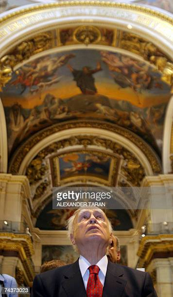 Greek President Carolos Papoulias looks visits the Saint Isaac's Cathedral in StPetersburg 01 June 2007 Papoulias is on an official visit to Russia...