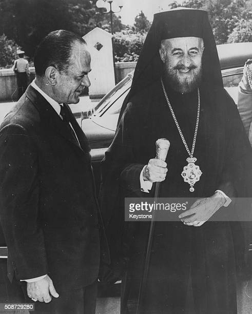 Greek President Georgios Papadopoulos with Archbishop Makarios of Cyprus at the airport in Athens September 6th 1971