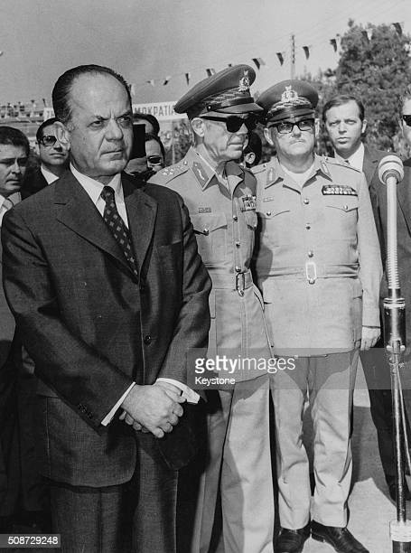 Greek President Georgios Papadopoulos with Vice President Odysseas Angelis and General Ioannis Davos 1974