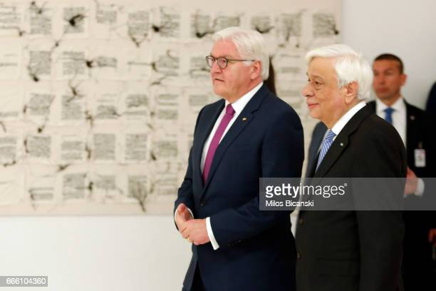 Greek President Prokopis Pavlopoulos and his German counterpart FrankWalter Steinmeier visit the international art exhibition Documenta 14 at the...