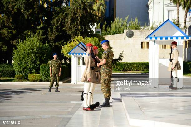 greek presidential guard - greek parliament stock pictures, royalty-free photos & images