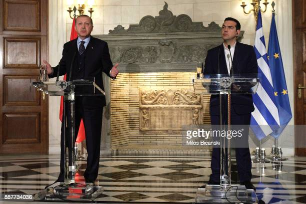 Greek prime minister Alexis Tcipras and Turkish President Recep Tayyip Erdogan during a joint press conference the in Athens on December 7 2017...