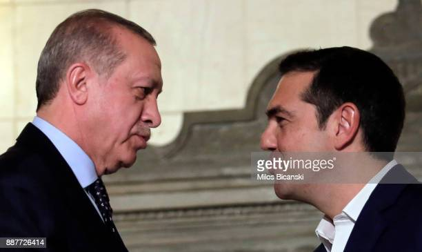 Greek prime minister Alexis Tcipras with Turkish President Recep Tayyip Erdogan after a joint press conference the in Athens on December 7 2017...