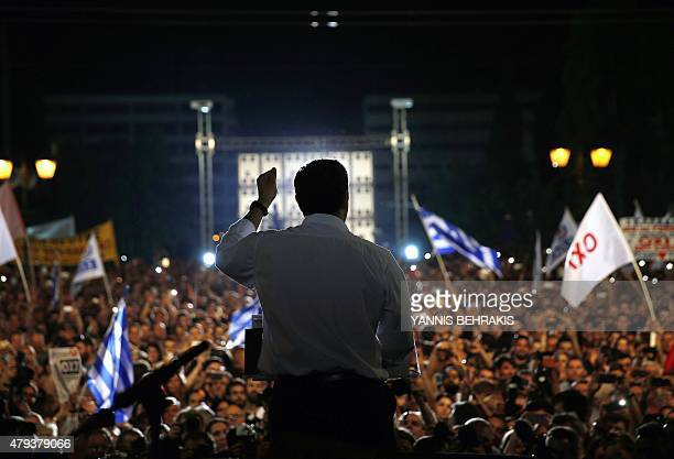 Greek Prime Minister Alexis Tsipras addresess an antiausterity rally at the Syntagma square in Athens on July 3 2015 Tsipras urged voters to ignore...