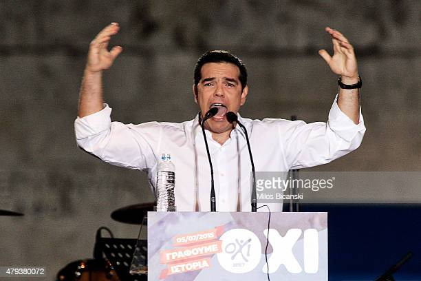 Greek Prime Minister Alexis Tsipras addresses his supporters during the 'No' campaign rally in Syntagma Square in preparation for Sunday's referendum...