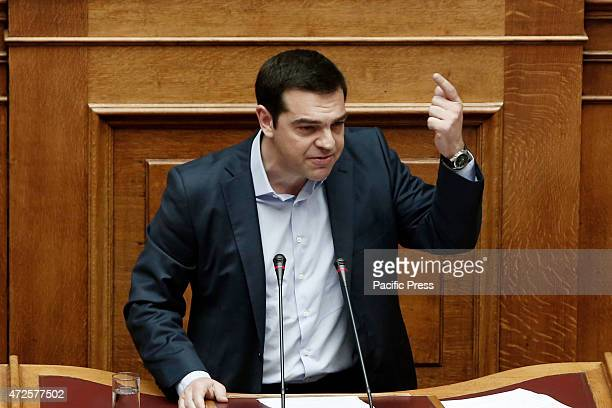 DELTA ATHENS ATTICA GREECE Greek Prime Minister Alexis Tsipras addresses lawmakers at the Parliament during the Hour of Prime Minister