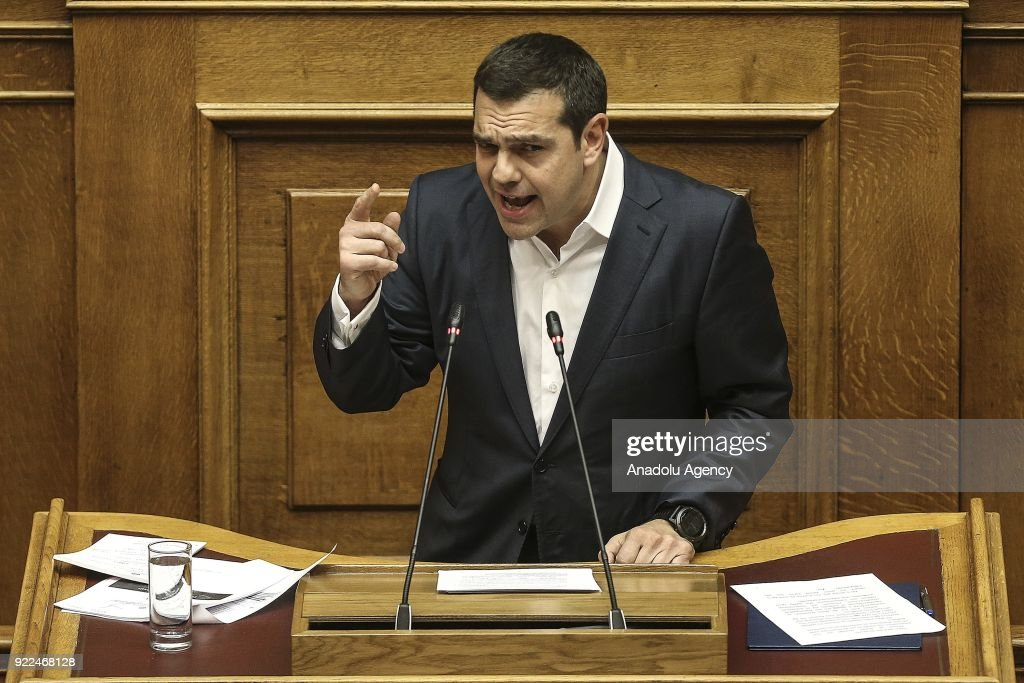 Greek Prime Minister Alexis Tsipras addresses lawmakers during a debate over the of the Novartis investigation at Greek Parliament in Athens, Greece on February 21, 2018.
