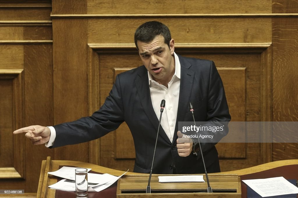 Greek Parliament debates Novartis investigation : News Photo