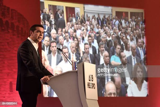 Greek Prime Minister Alexis Tsipras addresses representatives of local chambers unions and administrations during the opening of the 82nd...