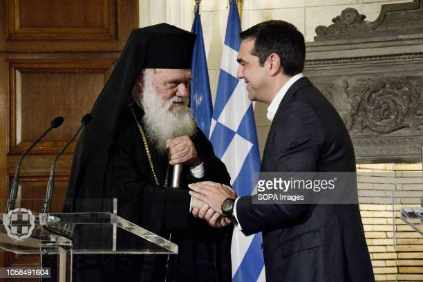 Greek Prime Minister Alexis Tsipras and Archbishop Ieronimos seen together during their meeting at Maximos Mansion