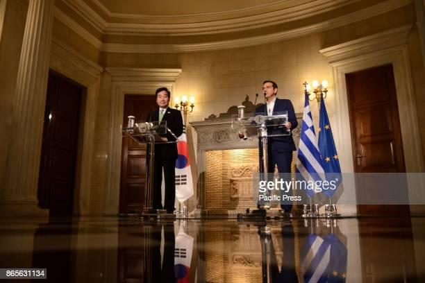 MANSION ATHENS ATTIKI GREECE Greek Prime Minister Alexis Tsipras and Prime Minister of South Korea Lee Nak Yon during their press conference