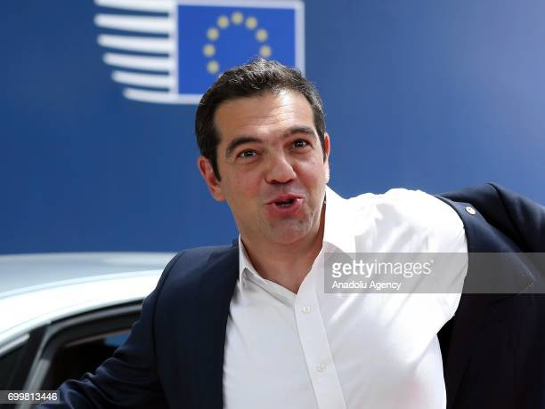 Greek Prime Minister Alexis Tsipras arrives at the Europa building to attend the European Union leaders summit in Brussels, Belgium, on Thursday,...