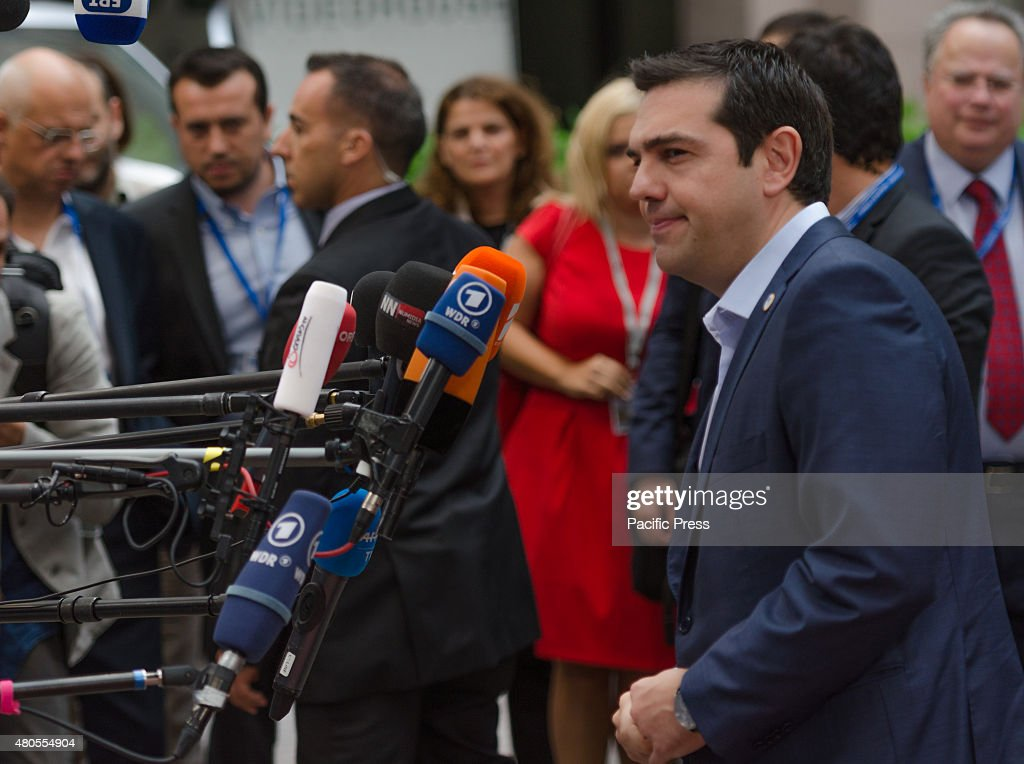 Greek Prime Minister Alexis Tsipras arrives for a Eurozone meeting where heads of state will take stock of the situation and set out the political guidelines for the next steps.