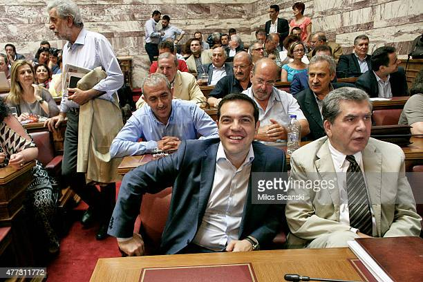 Greek Prime Minister Alexis Tsipras attends a meeting to address his party members and ministers at the Greek Parliament on June 16 2015 in Athens...