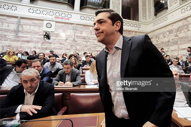 Greek Prime Minister Alexis Tsipras attends his party Lawmakers meeting inside the Greek Parliament on May 6, 2016 in Athens, Greece. Unions called...