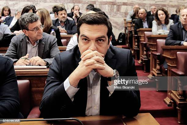 Greek Prime Minister Alexis Tsipras attends his party Lawmakers meeting inside the Greek Parliament on May 6 2016 in Athens Greece Unions called the...