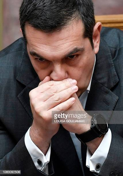 Greek Prime Minister Alexis Tsipras attends on January 15 2019 at the Greek Parliament in Athens the start of a twoday debate on a confidence vote he...