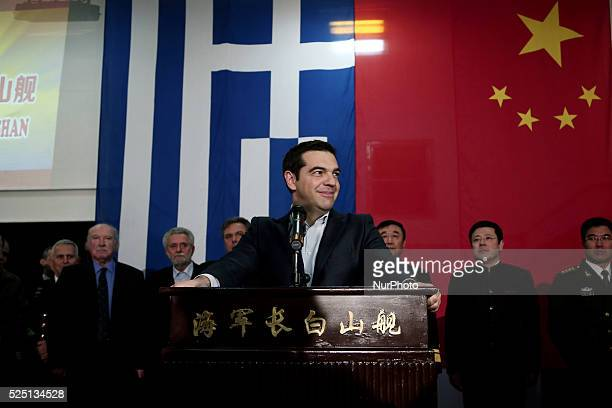 Greek Prime Minister Alexis Tsipras delivers a speech aboard the Chinese frigate Changbaishan at the port of Piraeus. Ships of the 18th Fleet of the...
