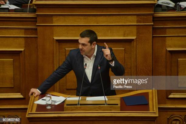 PARLIAMENT ATHENS ATTIKI GREECE Greek Prime minister Alexis Tsipras during his speech in Hellenic Parliament for Novartis