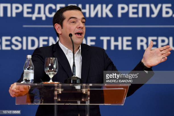 Greek Prime Minister Alexis Tsipras gestures as he speaks during a joint press conference with Serbian President after their meeting in Belgrade on...