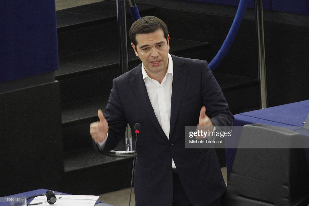 Greek Prime Minister Alexis Tsipras gestures as he speaks in the plenary hall at the European Parliament on July 8, 2015 in Strasbourg, France. Eurozone member nations have given Greece until Thursday to come up with new proposals to bring the country out of its debt crisis and qualify for further assistance from international creditors. Analysts say that should this final effort fail a departure of Greece from the Eurozone will be inevitable.