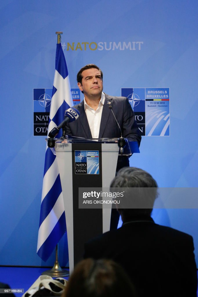 Greek Prime Minister, Alexis Tsipras, gives a press conference at the end of the second day of the NATO Summit and a bilateral meeting with Turkish President in Brussels, on 12 July 2018.