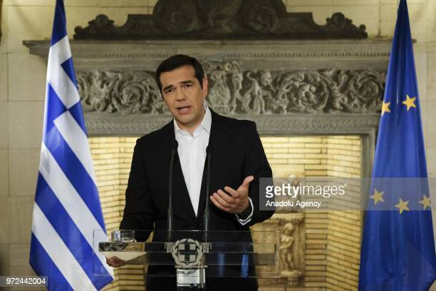 Greek Prime Minister Alexis Tsipras holds a press conference over his telephone call with Macedonian Prime Minister Zoran Zaev in Athens Greece on...